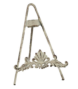 "9"" Distressed White Metal Easel"