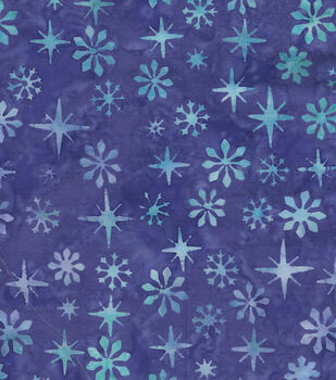 Maker's Holiday Cotton Print Batik Fabric 44''-Dark Blue Snowflakes