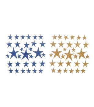 Darice Foam Glitter Stickers-62PK/Blue & Gold