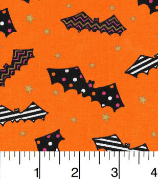 Halloween Cotton Fabric-Patterned Bats On Orange