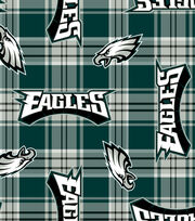 Philadelphia Eagles NFL Plaid Fleece Fabric by Fabric Traditions, , hi-res