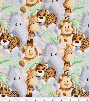 Nursery Fabric Jungle Babies Animal All Over