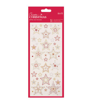 Papermania Create Christmas Glitter Dot Stickers-Stars