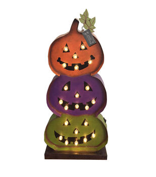 Maker's Halloween Metal Stacked LED Pumpkins