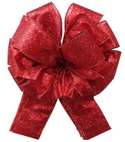 Maker's Holiday Tree Topper Bow-Red Glitter, , hi-res