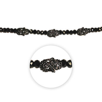 "Blue Moon Beads Strand 7"" Metal Rhinestone Skulls, Black/Gunmetal"