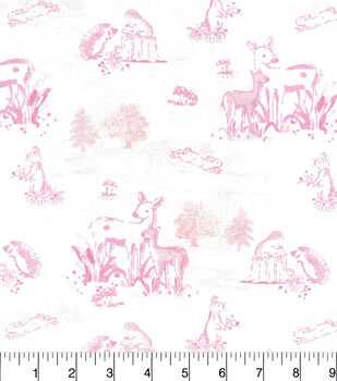 Nursery Flannel Fabric-Pink Woodland Toile