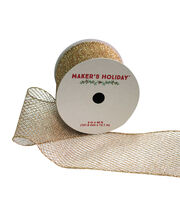 Maker's Holiday Mesh Ribbon With Glitter 4''x40'-Gold, , hi-res