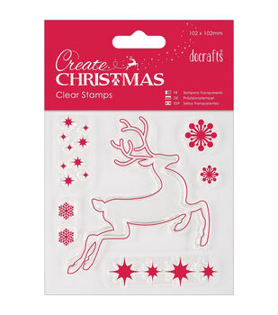 """Papermania Create Christmas Mini Clear Stamps 4""""X4""""-Reindeer"""
