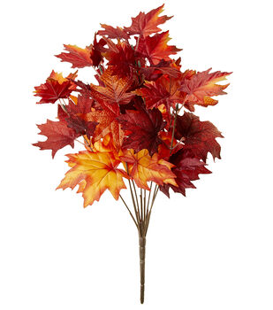Blooming Autumn 19'' Maple Leaves Bush-Orange & Red