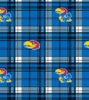University of Kansas NCAA Plaid Fleece Fabric, , hi-res
