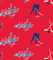 Washington Capitals  NHL Tossed Print Fleece Fabric, , hi-res