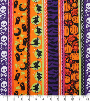 Halloween Cotton Fabric-Monster Stripes
