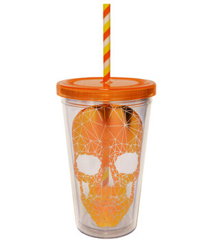 Skull Cup 16 oz Metallic Orange