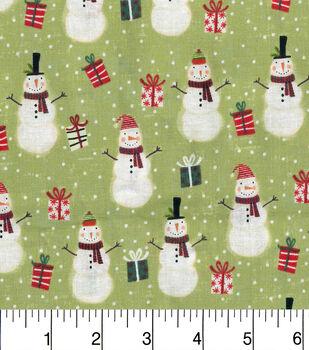 Keepsake Calico Christmas Cotton Fabric-Santas And Presents Grn