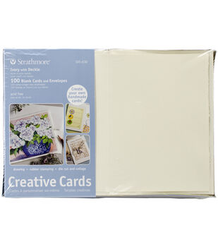 "Strathmore Cards & Envelopes 5""X6.875"" 100/Pkg-Ivory W/Deckle"