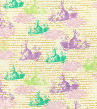 Easter Print Fabric-Stencil Bunnies Pastel