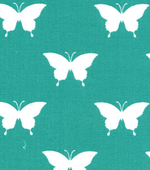 Quilter's Showcase™ Cotton Fabric-Butterfly Teal/White