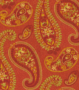 Home Decor 8''x 8'' Fabric Swatch-Waverly Caftan Paisley/Cardamom