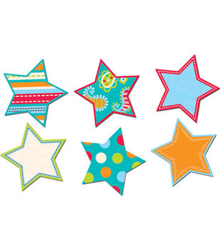 "Dots on Turquoise Stars 6"" Cut-Outs"