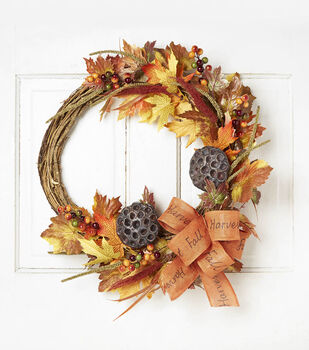 Blooming Autumn 22'' Berry, Ribbon Leaves & Vine Wreath