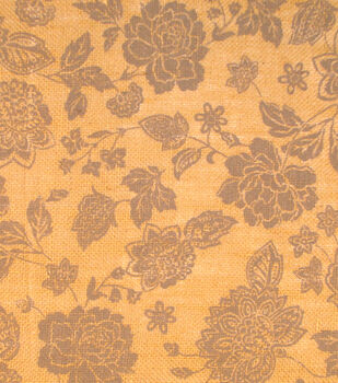 Utility Fabric - Gray Floral Burlap