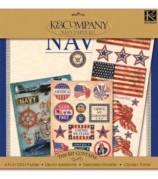 """K&Company Military Scrap Kit 12""""x12"""" Layouts-Navy"""