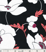 Keepsake Calico Fabric - White Floral On Black, , hi-res