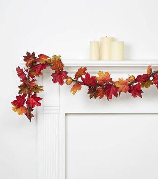 Blooming Autumn 66'' Maple, Pumpkin & Berry Garland-Rust & Brown
