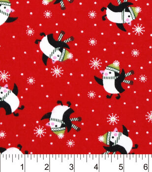 Snuggle Flannel Fabric-Happy Penguins Red