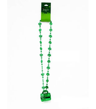 St. Patrick's Day 18'' Beaded Shamrock With Mug Necklace