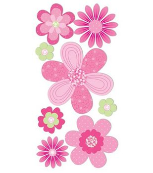 Dimensional Stickers-Pink & Green Flowers