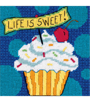 """Dimensions Life Is Sweet Mini Needlepoint Kit-5""""X5"""" Stitched In Floss"""