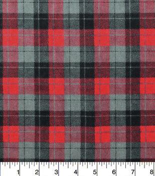 Snuggle Flannel Fabric-Skylar Red Black Plaid