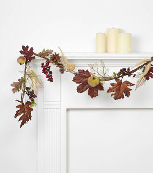 Blooming Autumn 66'' Pomegranate, Pinecone, Foxtail, Maple Garland-Brown