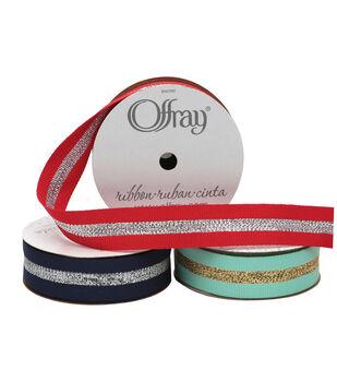 "Offray 7/8""x9' Sparkle Stripes Grosgrain Ribbon"