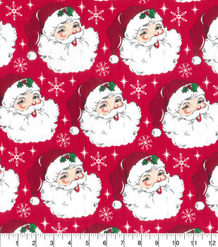 Christmas Cotton Fabric-Santa Heads By Gretchen Hirsh