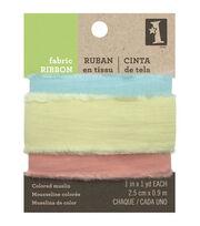 """Inkadinkado Muslin Fabric Ribbon 1""""X1yd-Colored, , hi-res"""