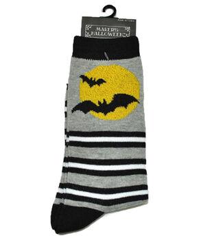 Maker's Halloween Socks-Bat Moon Stripe Crew