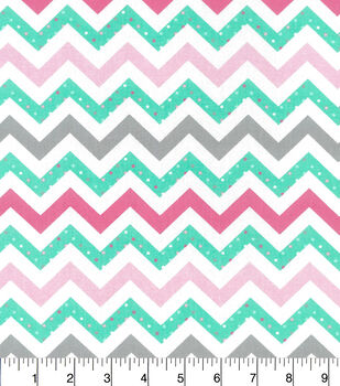 Nursery Cotton Fabric-Sara Collection Mint Pink Chevron