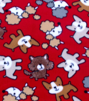 Blizzard Fleece Fabric-Scribbled Pups