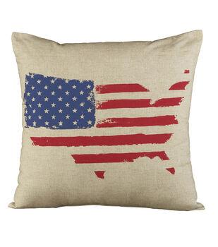 Sea to Shining Sea Us Flag Pillow
