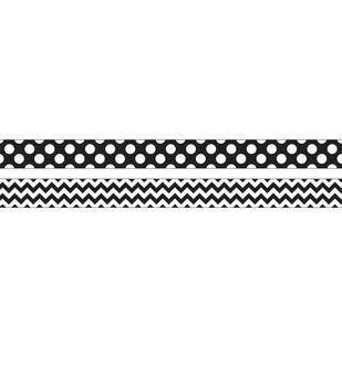 Black & White Chevron Double-Sided Border