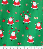 Keepsake Calico Christmas Cotton Fabric-Santa And Presents On Grn, , hi-res
