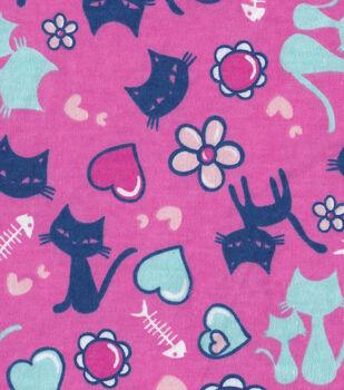 Snuggle Flannel Fabric-Fishbone Cat