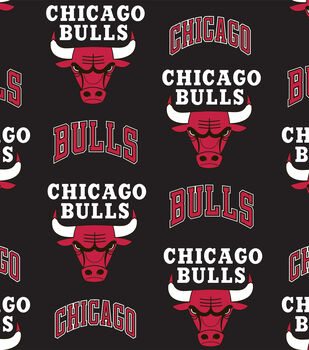 Chicago Bulls NBA Tossed Print Fleece Fabric