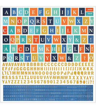 Basic Grey Adrift Cardstock Alphabet Stickers