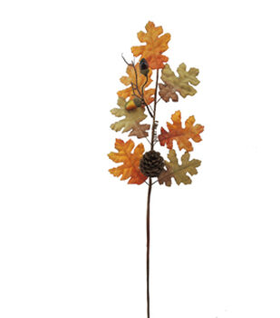 Blooming Autumn 29'' Oak Leaves, Acorn & Pinecone Stem-Brown