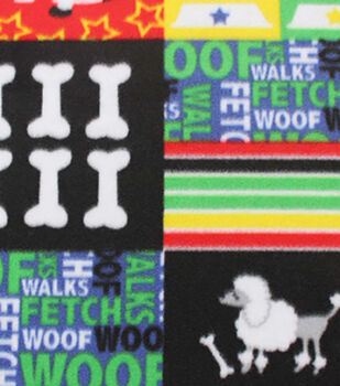 Blizzard Fleece Fabric-Bright Dog Patch