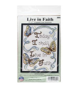 5x7 14ct -live In Faith Ccx